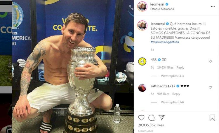 Pecahkan Rekor, Foto Messi Bersama Piala Copa America Dapat 20 Juta Likes