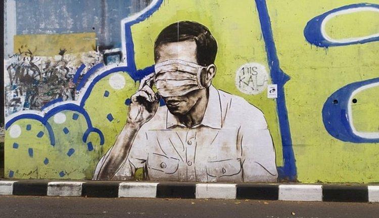 Sempat Muncul di Bandung, Mural Mirip Jokowi dengan Masker di Mata Raib