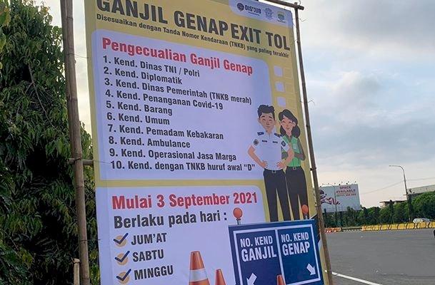 Ganjil Genap Tol Bandung Dilanjutkan Hingga 12 September